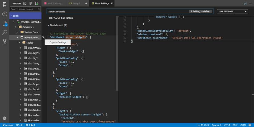 SQL Operations Studio - Widget 06
