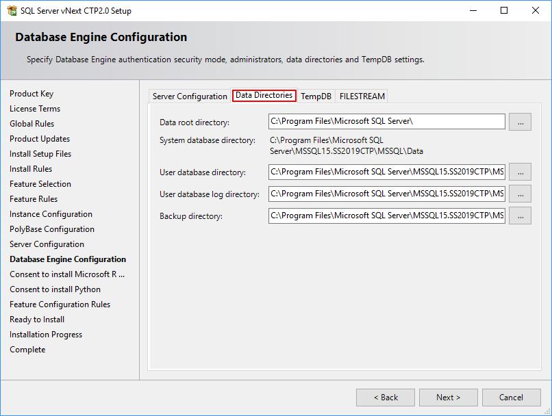 SQL Server 2019 Setup - Database Engine - Data Directories