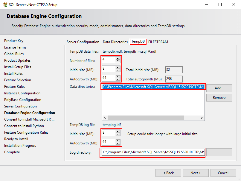 SQL Server 2019 Setup - Database Engine - TempDB