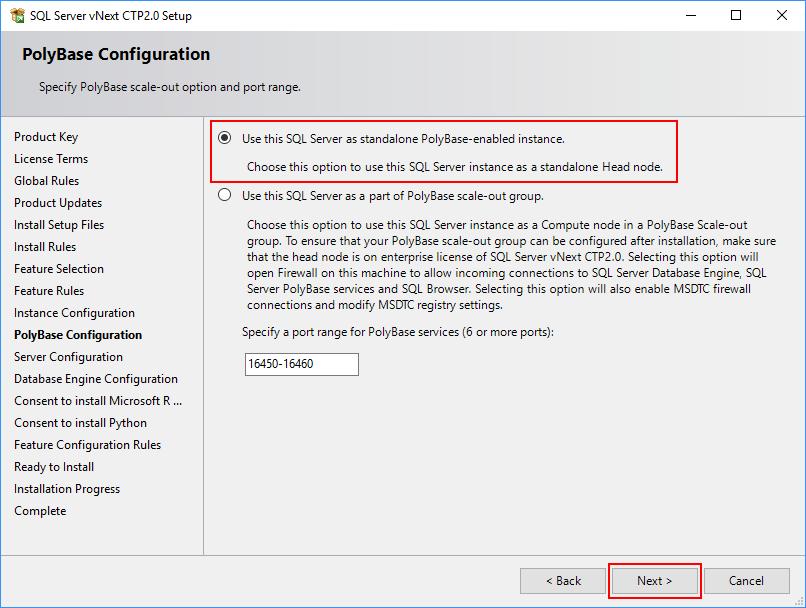 SQL Server 2019 Setup - PolyBase Configuration