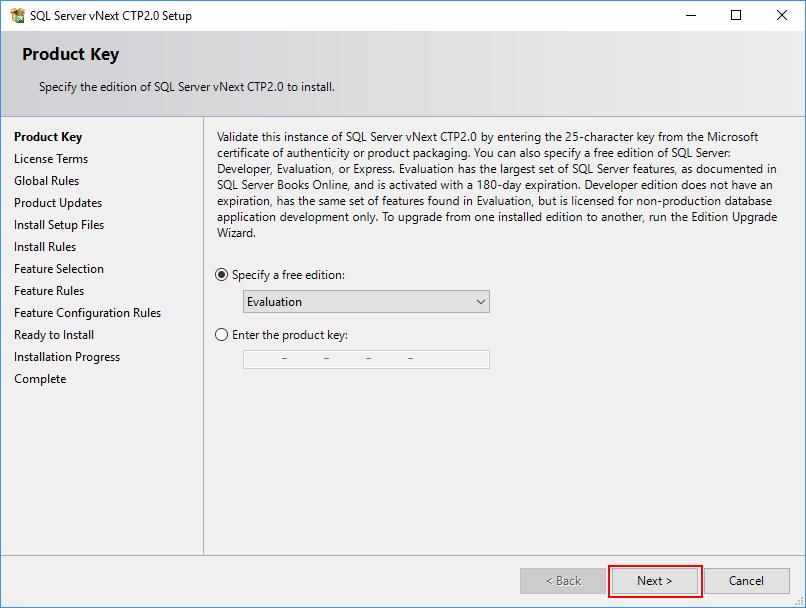 SQL Server 2019 Setup - Product Key