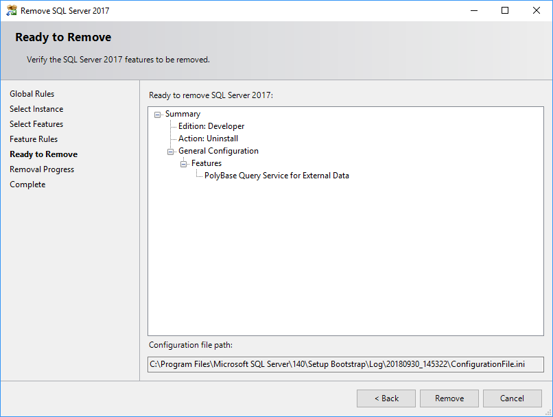 Uninstall SQL Server feature - final confirmation
