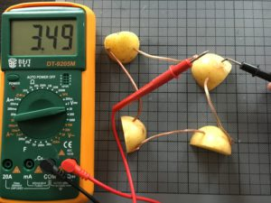 Slightly lower voltage but for higher current for lighting up the LED