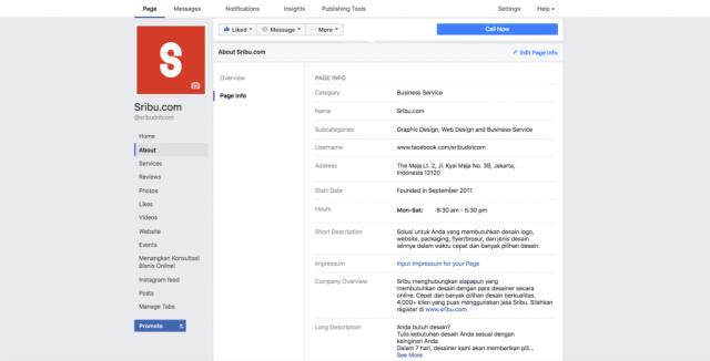 facebook page info details