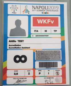 A test accreditation from the Summer Universiade with the cryptographic image above the bar code