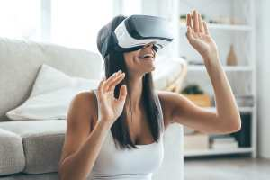 A woman using a VR headset