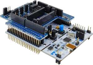 A Nucleo board with the X-NUCLEO-IKS01A3 on top
