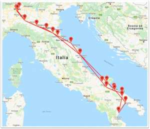 The X-NUCLEO-S2868A1 tracking Gerardo's trip across Italy