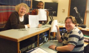 Me, Quinton and Terry in the studio this morning, all with our annotated book lists. (Photo by Rose Grech)