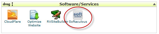 Softlaculous icon in the Software Services section of the x10hosting.com CPanel