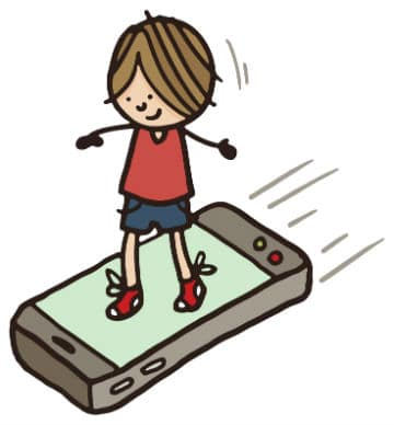Boy surfing on a smart phone - Riding the waves of change