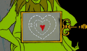 The Grinch's heart grows three times bigger when he sees the Whos celebrating Christmas after he stole everything.
