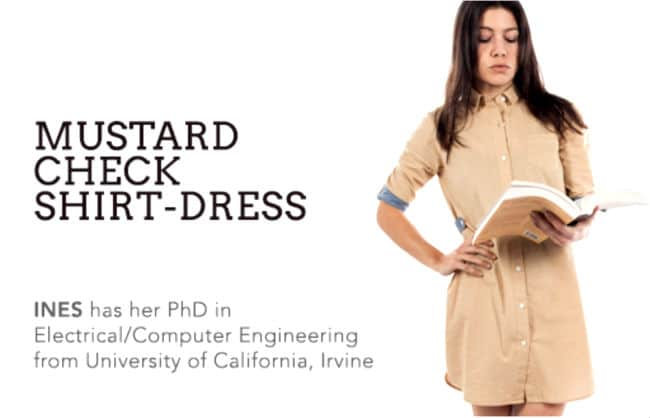 Female Computer Engineering PHD student is modelling a shirt-dress for Betabrand.com