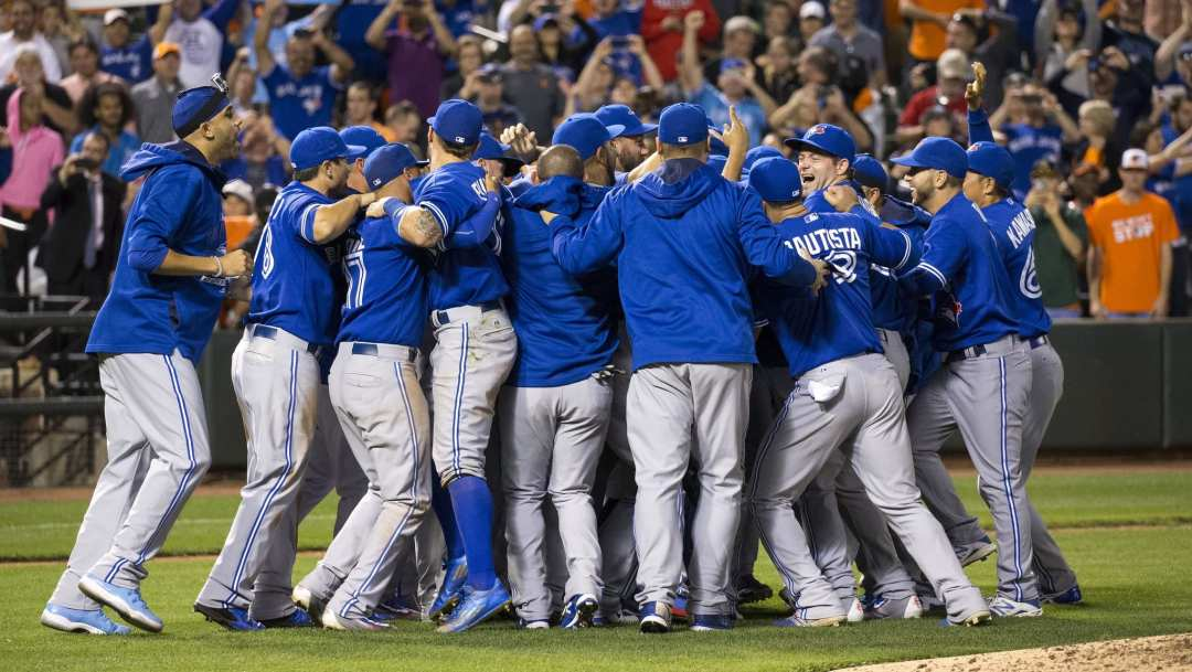 Toronto Blue Jays Celebration by Keith Allison is licensed under CC BY 2.0
