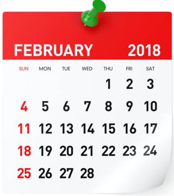 Februar  2018  Gemeinde-Kalender-Informationen