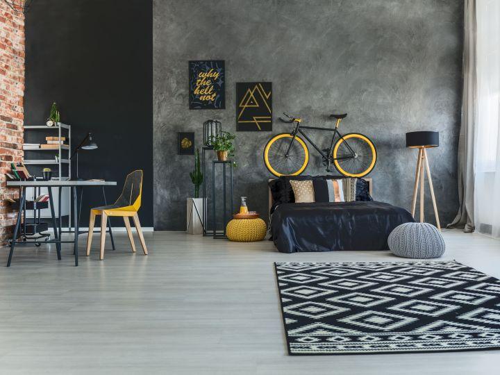 loft industrial cinza e amarelo