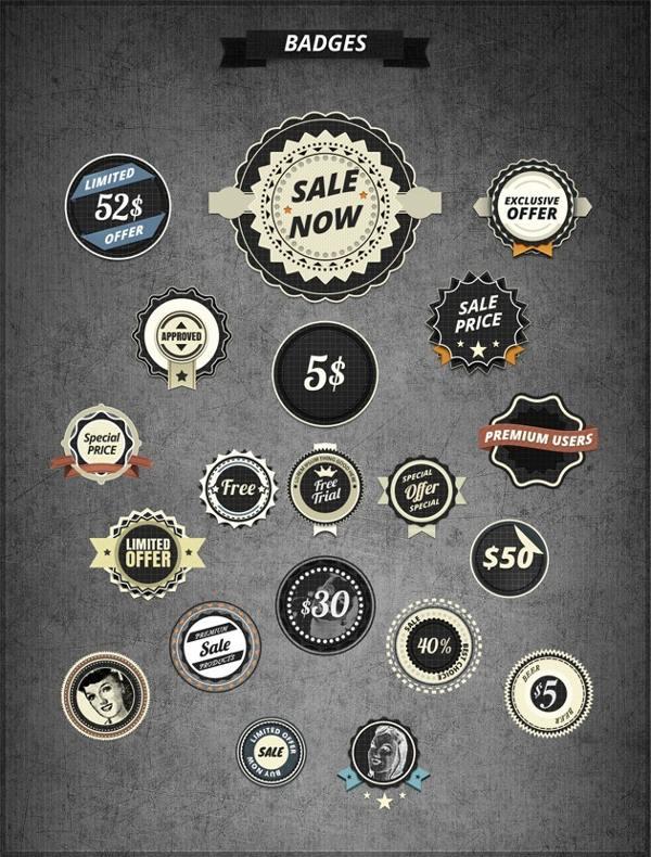free psd, free psd badges, free vintage badges photoshop, free retro badges photo shop
