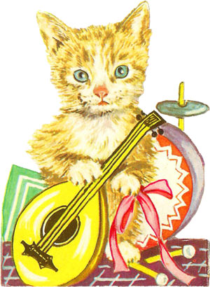 cat clipart, kitty clip art, vintage cat clipart