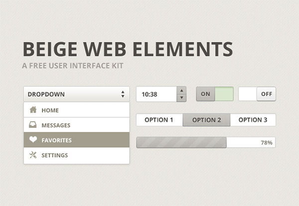 Free UI PSD Beige Web Elements