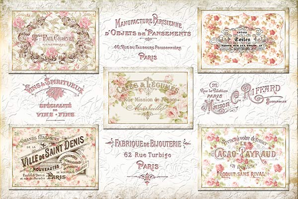 free french brushes, french label brushes, vintage stamps, vintage photoshop brushes