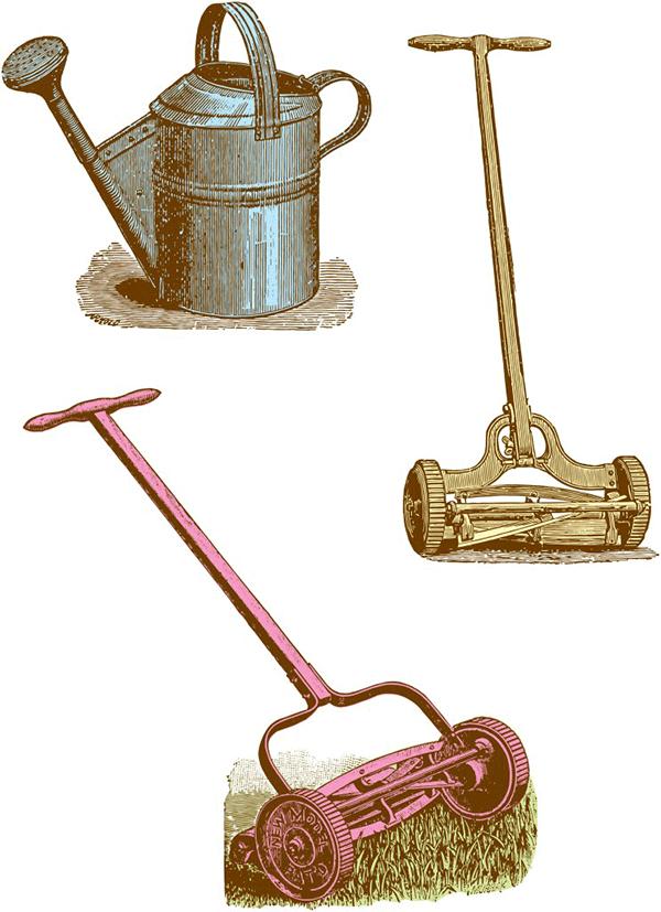 vintage clipart, lawn mower clipart, domestic clipart