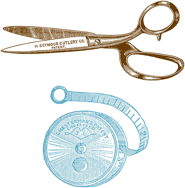 vintage clipart, sewing clipart, scissors clipart, measuring tape clipart