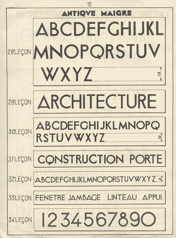 Vintage Architectural Lettering Specimen