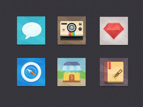 free camera icon, notes icons, clock icon, speech bubble icon, flat ui, flat design