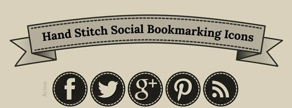 Social Icons, Social Buttons, stitched, hand stitched, earthy,