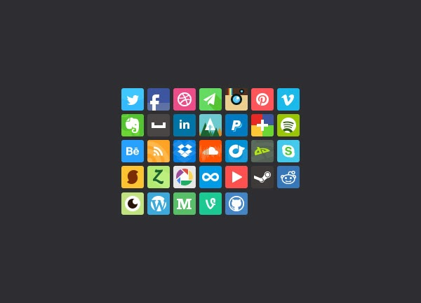 square, twitter, facebook, dribble, pinterest, instagram, vimeo, spotify, linkedin, forrst, behance, deviantart, soundcloud, skype, steam, youtube, onenote