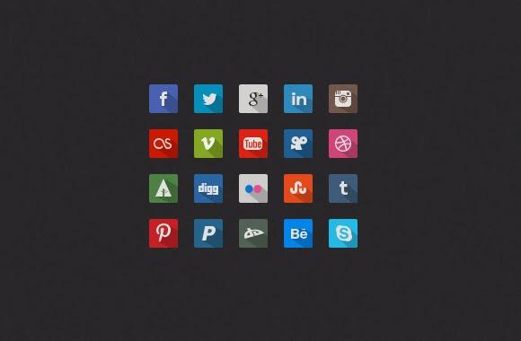 long shadow, icons, social media, flat icons,
