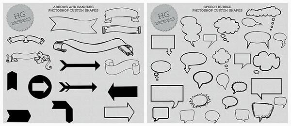 speech bubbles shapes, speech bubbles custom shapes, banners custom shapes, banners shapes, arrows custom shapes, arrow custom shapes