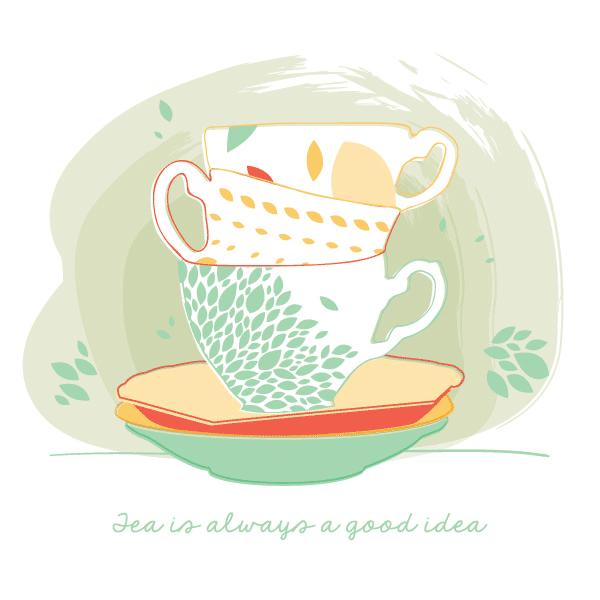 cute vector, free vectors, tea cup vector,