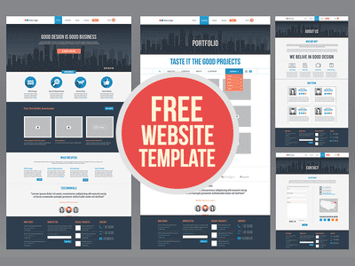 portfolio psd, website template psd, flat design ui psd, free flat website template psd