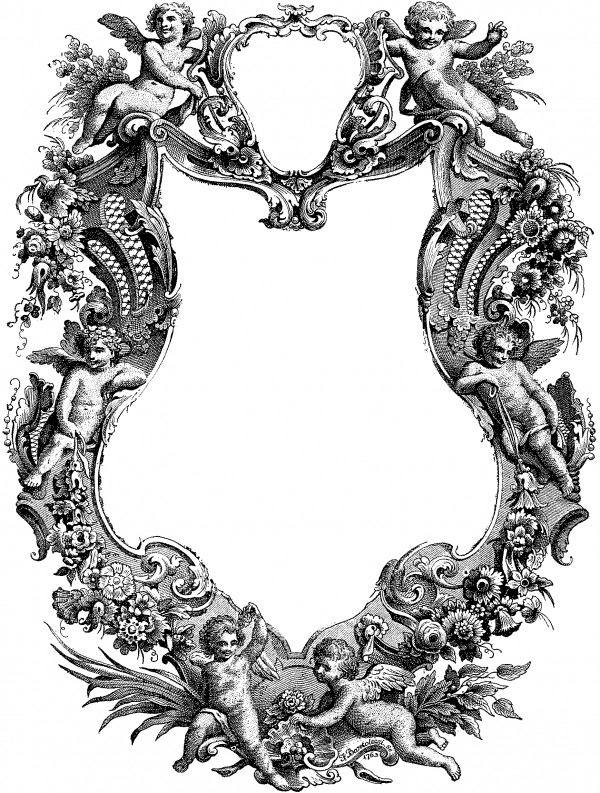 floral frame border, cherubs border, floral border, ornate border illustration