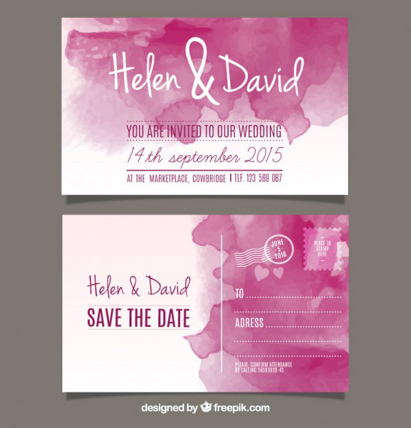 Design Wedding Invitations - Watercolor Vector