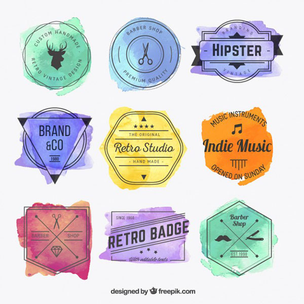 Stock Graphics - Watercolor Hipster Badges Vector