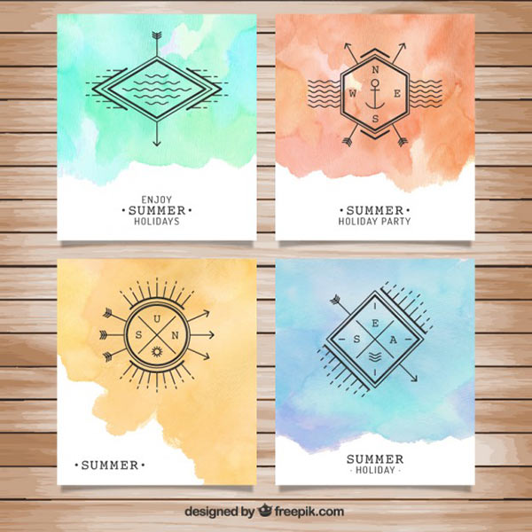 Watercolor Vector Backgrounds for Summer Holiday Brochures