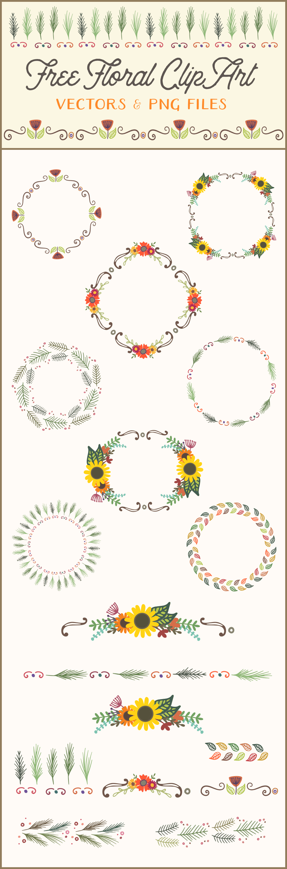 Free Floral Wreaths & Laurels for Graphic Design