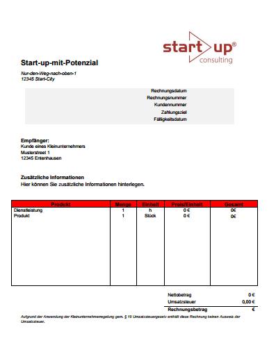 Kostenlose Vorlage einer Rechnung für Kleinunternehmer
