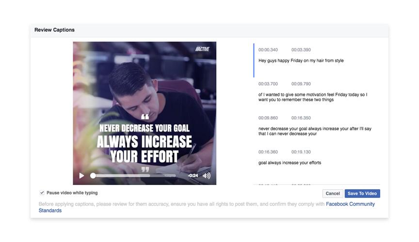facebook video caption