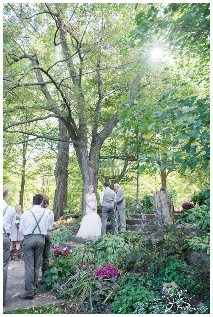 Stanleys-Olde-Maple-Lane-Farm-Wedding-Stephanie-Beach-Photography-ceremony-stone-steps-sunflare