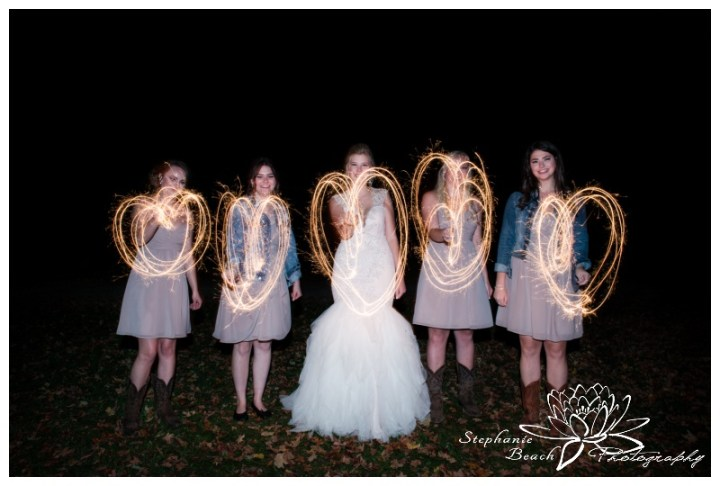 Stanleys-Olde-Maple-Lane-Farm-Wedding-Stephanie-Beach-Photography-sparklers-night-bridesmaids