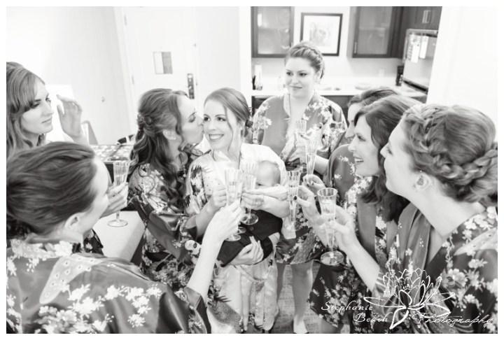 Strathmere-Lodge-Wedding-Stephanie-Beach-Photography-prep-bride-bridesmaids-toast-champagne