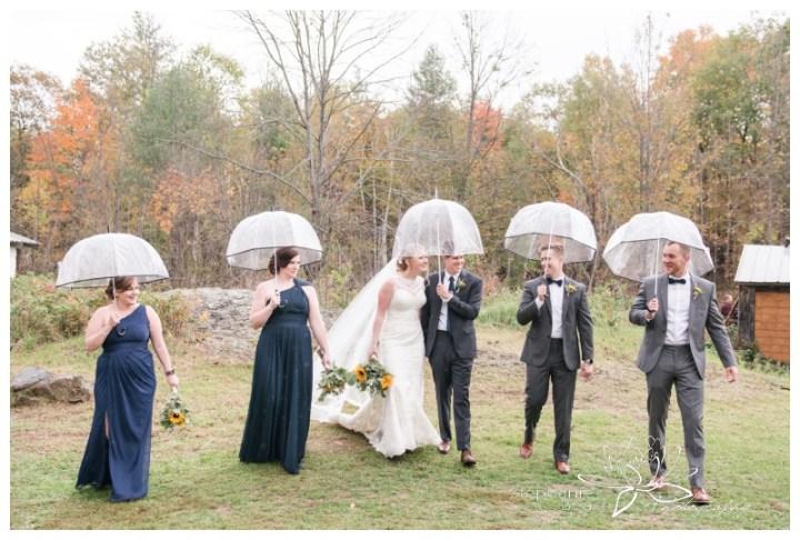 Ottawa-Fall-Backyard-Wedding-Stephanie-Beach-Photography-umbrella-groomsmen-bridesmaids-sunflower-bouquet