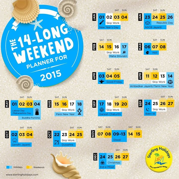 Long Weekends in 2015 India - Sterling Holidays