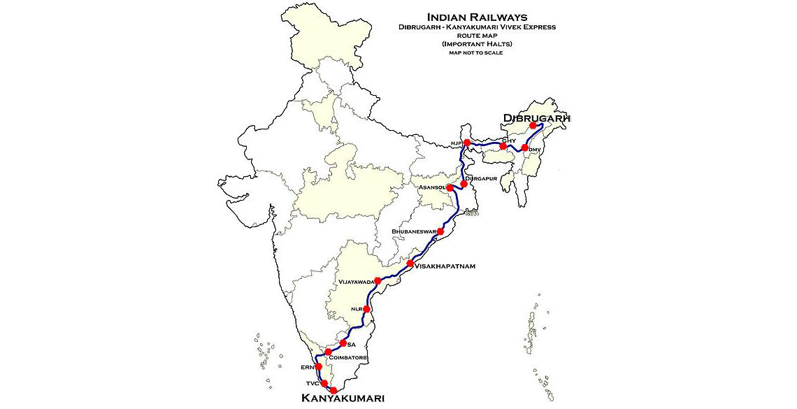 Vivek Express - Longest Train Service in India - Sterling Holidays on indian railway food, indian railways logo, indian railway network, indian railway enquiry, auto train route map, indian rail route, us train routes map, indian railway fare table, indian railway ticket availability, pakistan railway track map, indian railways seat availability, transcontinental railroad route map, indian railway schedule, european train route map, indian railway reservation, india railway map, indian railway timetable, indian railway stations, mt. shasta route map, ferdinand magellan's route map,