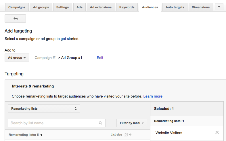 AdWords - adding an audience after ad creation