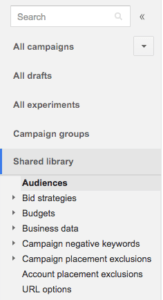 AdWords - opening the audience window