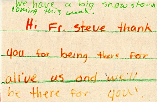 Fr. Steve's get well card from Chandler